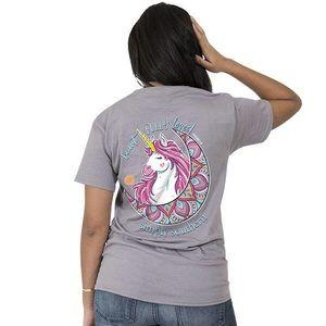 Simply Southern Gray Unicorn Shirt Small